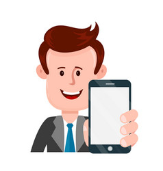 young businessman person holding smartphone vector image vector image