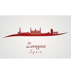 Zaragoza skyline in red vector image