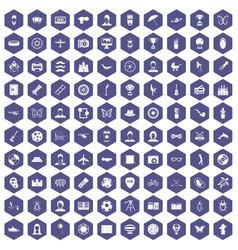 100 photo icons hexagon purple vector