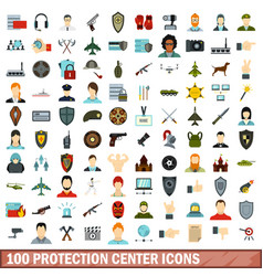 100 protection center icons set flat style vector