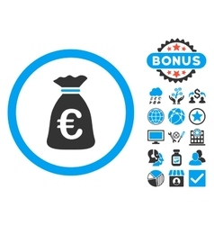 Euro money bag flat icon with bonus vector