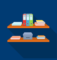 office shelves with file folders icon in flat vector image