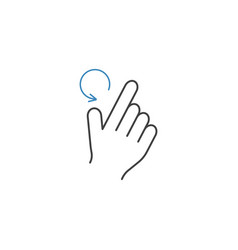 2 finger rotate left line icon hand gestures vector