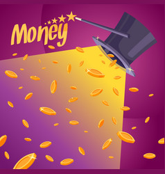 With coins cylinder and a magic wand vector