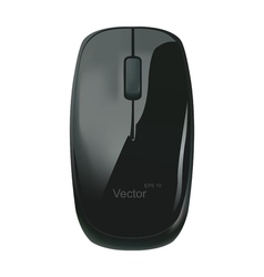 Black computer mouse on a white background vector