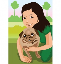 Animal and owner vector