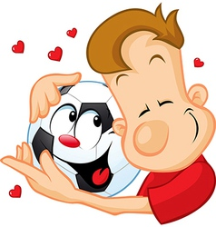 Love football - sportsman hugging beloved ball vector