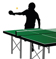 Ping pong player silhouette ten vector