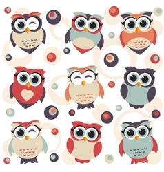 Background with cute owls vector
