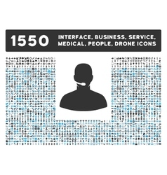 Call center icon and more interface business vector