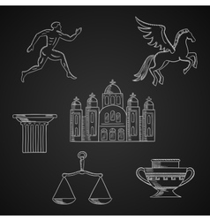 Greece culture and art chalk icons vector