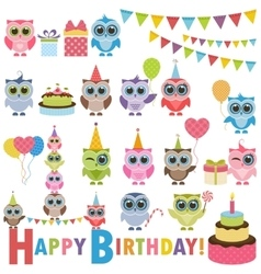 Birthday party set with owls vector