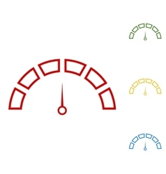 Speedometer sign set of line icons vector