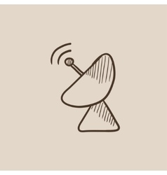 Radar satellite dish sketch icon vector