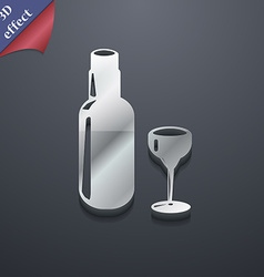 Bottle of wine and glass icon symbol 3D style vector image