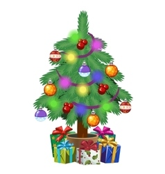 Christmas tree in pot with gifts holiday symbol vector