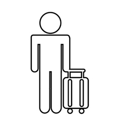Silhouette of person in airport isolated icon vector
