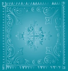 Beautiful vintage light blue floral background vector