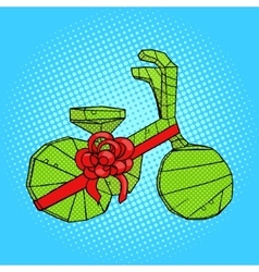 Bicycle in gift wrapping pop art style vector