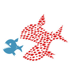 big evil fish escapes from small fishes vector image