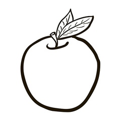 Black and white freehand drawn cartoon apple vector