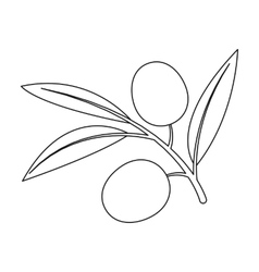 Branch of olives icon in outline style isolated on vector image vector image