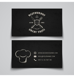 Business card template with logo for restaurant vector