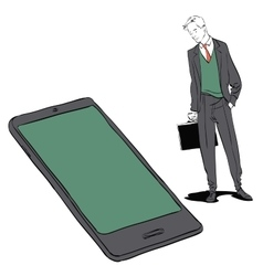 Businessman and smartphone vector image vector image