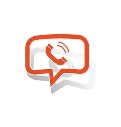 Calling message sticker orange vector