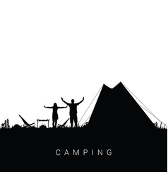 Camping nature with couple silhouette in black vector