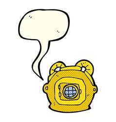 Cartoon old deep sea diver helmet with speech vector