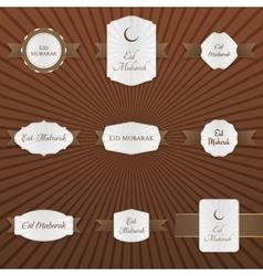 Eid mubarak decorative tags set vector