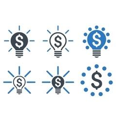 Financial Idea Bulb Flat Icons vector image vector image