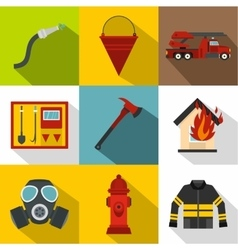 Fire icons set flat style vector