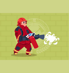 Fireman hold extinguisher wearing uniform and vector