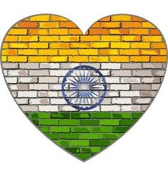 Flag of India on a brick wall in heart shape vector image vector image