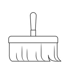 hand broom with wooden stick in monochrome vector image