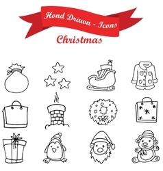 Hand draw christmas object icons vector