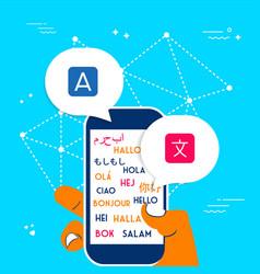 Hand using phone translation app for social media vector
