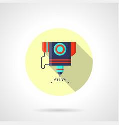 Laser engraver flat round icon vector