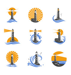 lighthouse among sea waves icons vector image