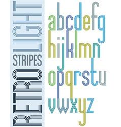 Poster bright retro condensed font striped compact vector