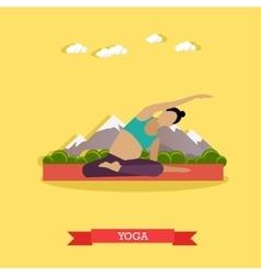 Pregnant girl practicing yoga outdoor flat design vector
