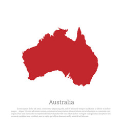 red silhouette of continent australia vector image