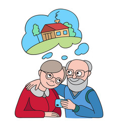 Senior couple with credit card dreaming about vector