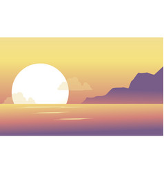 silhouette of hill and lake at the morning scenery vector image vector image