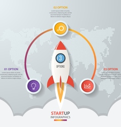 Startup circle infographics with rocket 3 options vector