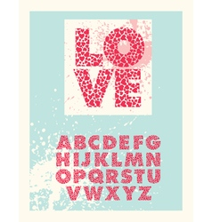 Valentine block letter font vector image