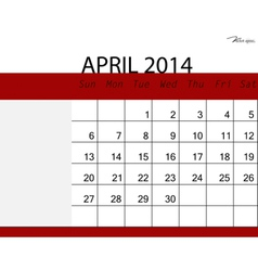 Simple 2014 calendar april vector