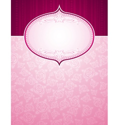 Pink background with big label and roses vector